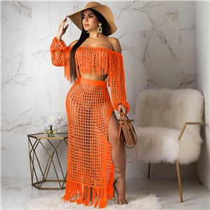 Adogirl Hollow Out Fishnet Tassel Knitted Two piece Set Summer Beach Dress Off Shoulder Lantern Sleeve Crop Top + Maxi Skirt-hipnfly-orange two piece set-L-China-hipnfly
