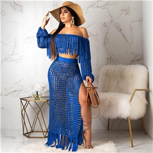 Adogirl Hollow Out Fishnet Tassel Knitted Two piece Set Summer Beach Dress Off Shoulder Lantern Sleeve Crop Top + Maxi Skirt-hipnfly-blue two piece set-L-China-hipnfly