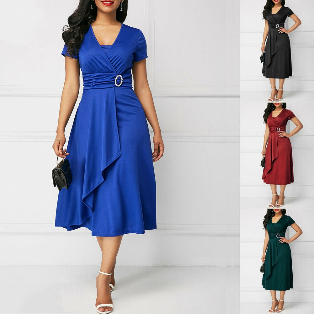 Elegant Women High Waist Plain Asymmetric Midi Dress Fashion Summer Solid Casual Short Sleeve V-Neck Dress Sundress Plus Size-hipnfly-hipnfly