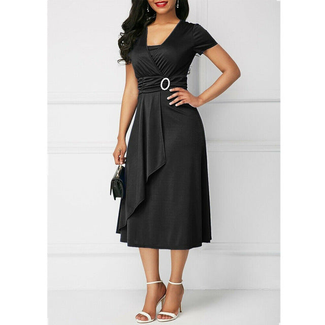 Elegant Women High Waist Plain Asymmetric Midi Dress Fashion Summer Solid Casual Short Sleeve V-Neck Dress Sundress Plus Size-hipnfly-Black-S-hipnfly