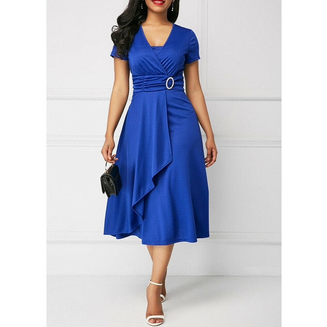 Elegant Women High Waist Plain Asymmetric Midi Dress Fashion Summer Solid Casual Short Sleeve V-Neck Dress Sundress Plus Size-hipnfly-Blue-S-hipnfly