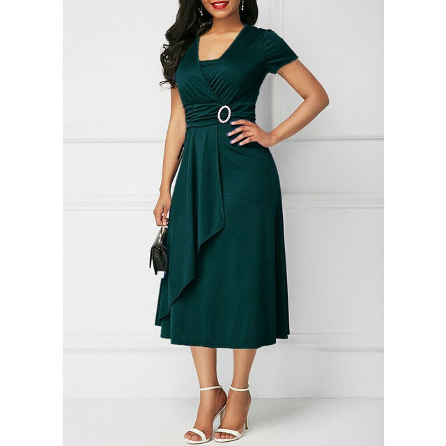 Elegant Women High Waist Plain Asymmetric Midi Dress Fashion Summer Solid Casual Short Sleeve V-Neck Dress Sundress Plus Size-hipnfly-Army Green-S-hipnfly