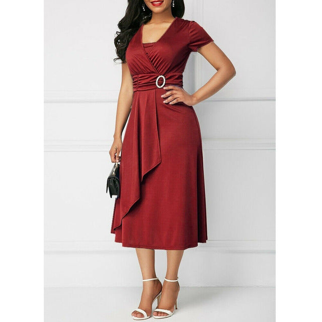 Elegant Women High Waist Plain Asymmetric Midi Dress Fashion Summer Solid Casual Short Sleeve V-Neck Dress Sundress Plus Size-hipnfly-Burgundy-S-hipnfly