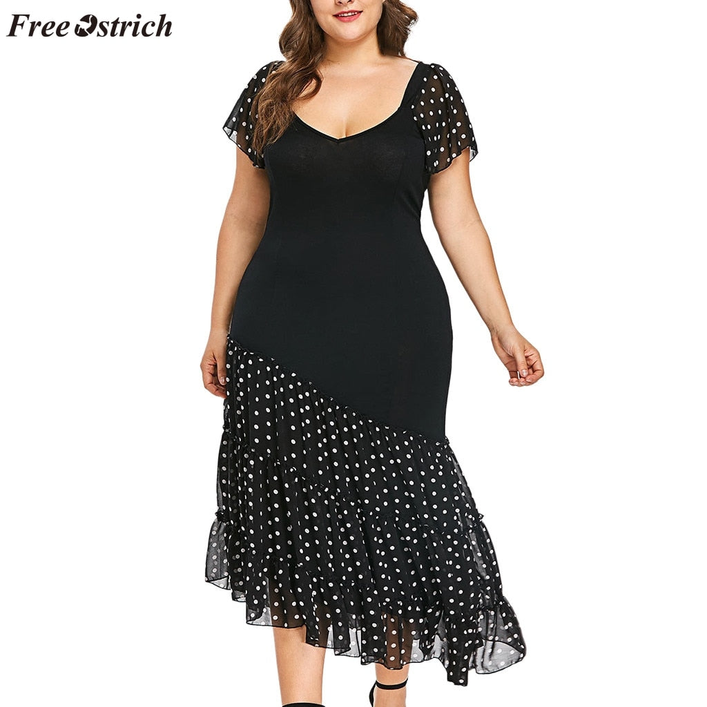 FREE OSTRICH New lace dress fashion women's large size round neck polka dot chiffon irregular asymmetrical short-sleeved dress