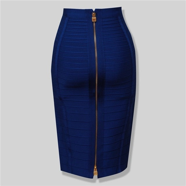 8 Colors Sexy Solid Zipper Orange Blue Black Bandage Skirt Women Elastic Bodycon Summer Pencil Skirts 55cm-hipnfly-Blue-M-hipnfly