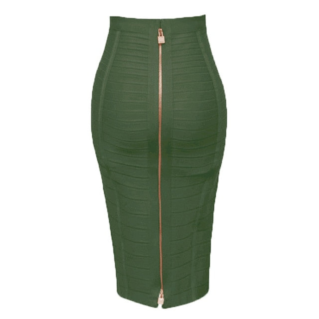 8 Colors Sexy Solid Zipper Orange Blue Black Bandage Skirt Women Elastic Bodycon Summer Pencil Skirts 55cm-hipnfly-Army green-XS-hipnfly