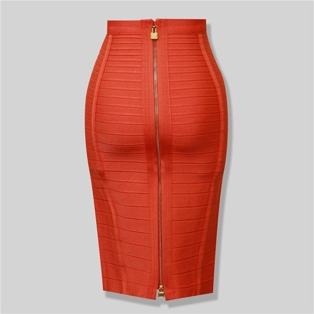 8 Colors Sexy Solid Zipper Orange Blue Black Bandage Skirt Women Elastic Bodycon Summer Pencil Skirts 55cm-hipnfly-Orange-XS-hipnfly
