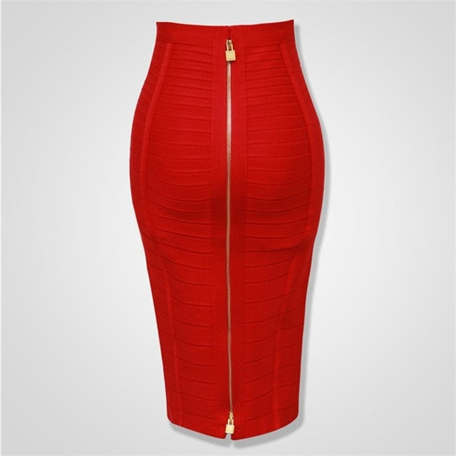 8 Colors Sexy Solid Zipper Orange Blue Black Bandage Skirt Women Elastic Bodycon Summer Pencil Skirts 55cm-hipnfly-Red-XS-hipnfly