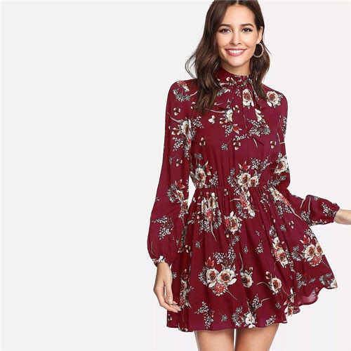 SHEIN Autumn Floral Women Dresses Multicolor Elegant Long Sleeve High Waist A Line Chic Dress Ladies Tie Neck Dress-hipnfly-Burgundy-XL-hipnfly