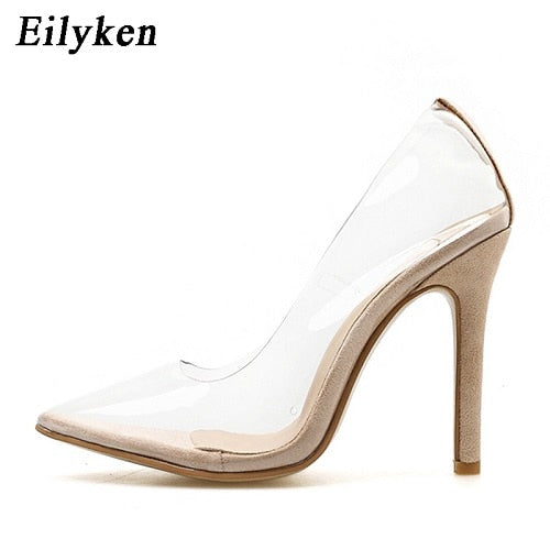 Eilyken 2019 New Sexy Green Serpentine PVC Transparent Crystal Female Sexy Pumps High Heels 12CM Party Dress Women Pumps Shoes-hipnfly-Apricot-4-hipnfly