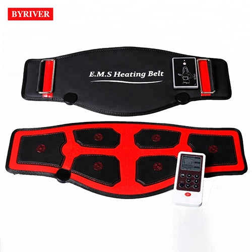 BYRIVER EMS Electric Slim Belt FIR Heating Waist Belly Health Therapy Massager Pulse Muscle Stimulator Acupuncture Stimulation-hipnfly-Heating Pulse Belt-EU Plug-hipnfly