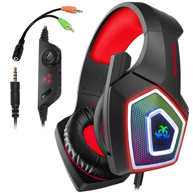 TTKK Hunterspider Gaming Headset For PS4, 3.5Mm Stereo Sound Cable Headset With Microphone Colorful LED Light Headphones-hipnfly-Black Red-hipnfly