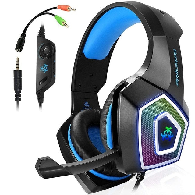 TTKK Hunterspider Gaming Headset For PS4, 3.5Mm Stereo Sound Cable Headset With Microphone Colorful LED Light Headphones-hipnfly-Black Blue-hipnfly