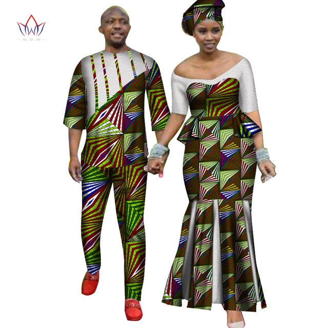 Africa Style Couples Clothing for Sweet Lovers 2019 Bazin Long Women Dress & Mens Sets Dashiki Plus Size Wedding Clothing WYQ252-hipnfly-8-M-hipnfly