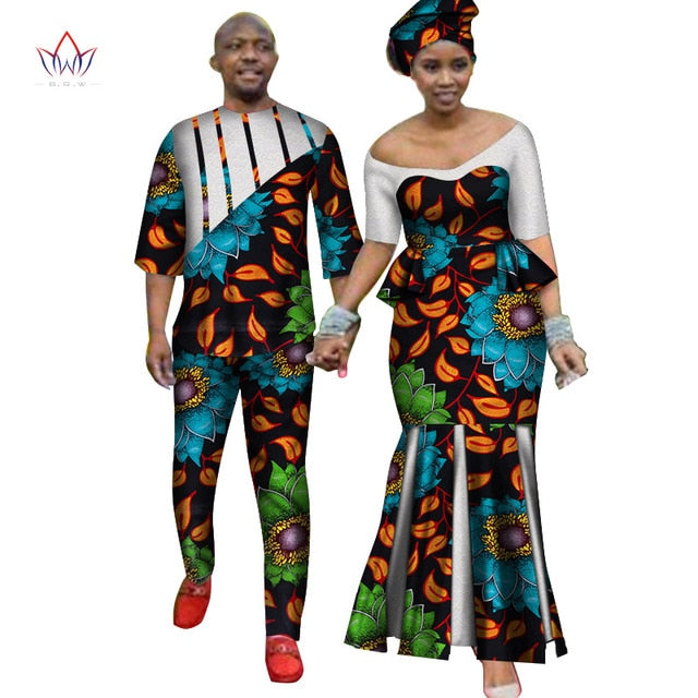 Africa Style Couples Clothing for Sweet Lovers 2019 Bazin Long Women Dress & Mens Sets Dashiki Plus Size Wedding Clothing WYQ252-hipnfly-1-M-hipnfly