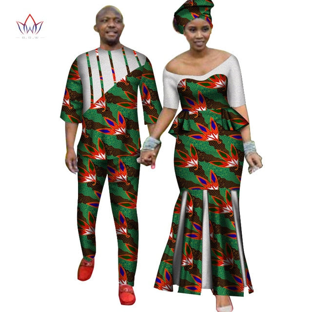 Africa Style Couples Clothing for Sweet Lovers 2019 Bazin Long Women Dress & Mens Sets Dashiki Plus Size Wedding Clothing WYQ252-hipnfly-7-M-hipnfly