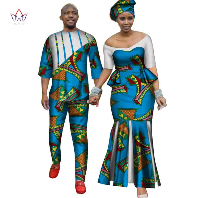 Africa Style Couples Clothing for Sweet Lovers 2019 Bazin Long Women Dress & Mens Sets Dashiki Plus Size Wedding Clothing WYQ252-hipnfly-hipnfly