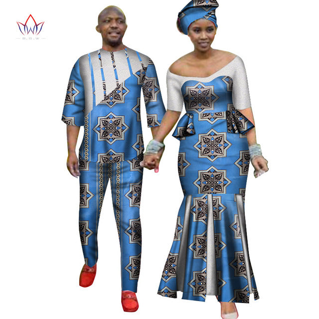 Africa Style Couples Clothing for Sweet Lovers 2019 Bazin Long Women Dress & Mens Sets Dashiki Plus Size Wedding Clothing WYQ252-hipnfly-2-M-hipnfly