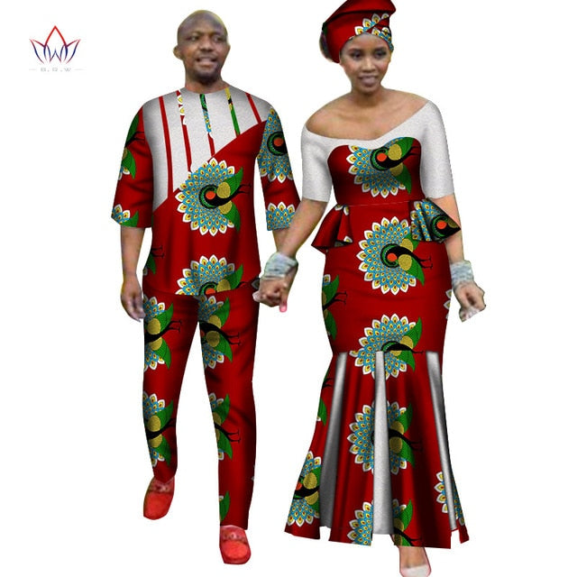 Africa Style Couples Clothing for Sweet Lovers 2019 Bazin Long Women Dress & Mens Sets Dashiki Plus Size Wedding Clothing WYQ252-hipnfly-9-M-hipnfly
