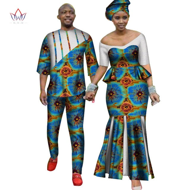 Africa Style Couples Clothing for Sweet Lovers 2019 Bazin Long Women Dress & Mens Sets Dashiki Plus Size Wedding Clothing WYQ252-hipnfly-10-M-hipnfly