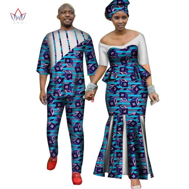 Africa Style Couples Clothing for Sweet Lovers 2019 Bazin Long Women Dress & Mens Sets Dashiki Plus Size Wedding Clothing WYQ252-hipnfly-3-M-hipnfly