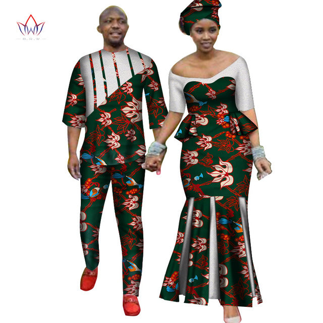Africa Style Couples Clothing for Sweet Lovers 2019 Bazin Long Women Dress & Mens Sets Dashiki Plus Size Wedding Clothing WYQ252-hipnfly-4-M-hipnfly