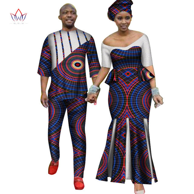 Africa Style Couples Clothing for Sweet Lovers 2019 Bazin Long Women Dress & Mens Sets Dashiki Plus Size Wedding Clothing WYQ252