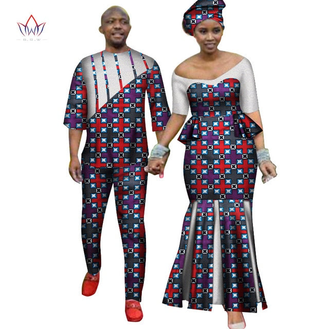 Africa Style Couples Clothing for Sweet Lovers 2019 Bazin Long Women Dress & Mens Sets Dashiki Plus Size Wedding Clothing WYQ252-hipnfly-6-M-hipnfly