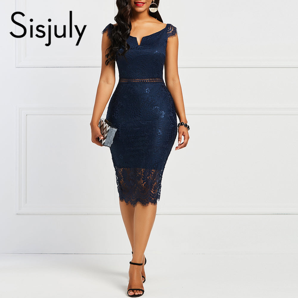 Sisjuly Bodycon Women Dress Lace Slash Neck Hollow Backless Sexy Elegant OL Party Chic Summer Patchwork Sheath Retro Dresses-hipnfly-hipnfly