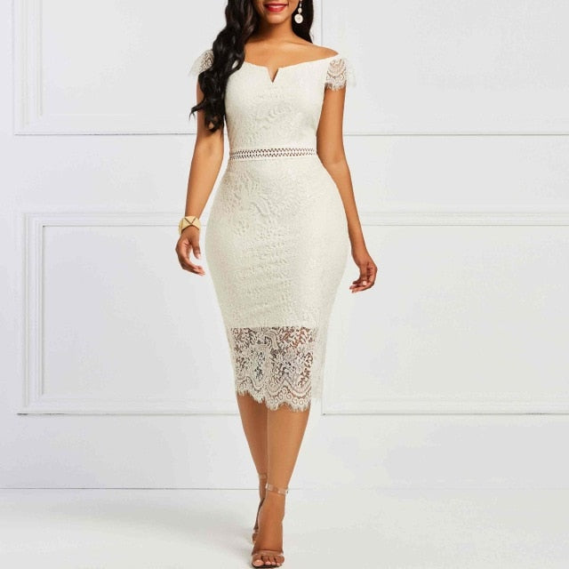 Sisjuly Bodycon Women Dress Lace Slash Neck Hollow Backless Sexy Elegant OL Party Chic Summer Patchwork Sheath Retro Dresses-hipnfly-Light Apricot-S-hipnfly