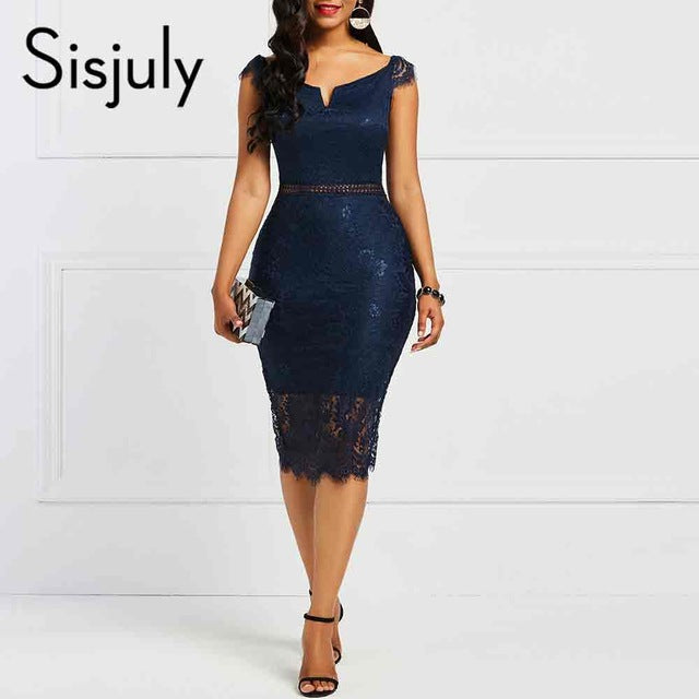 Sisjuly Bodycon Women Dress Lace Slash Neck Hollow Backless Sexy Elegant OL Party Chic Summer Patchwork Sheath Retro Dresses-hipnfly-Blue-S-hipnfly