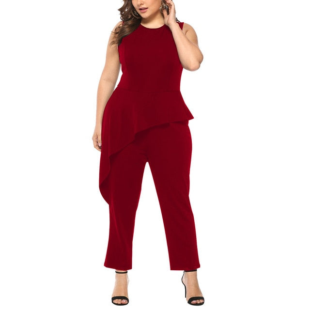Plus Size Woman Jumpsuits Fashion Solid Sleeveless Clothing Elegant O-neck Ruffles Playsuits Large Big Size Ladies OL Wear 1 Pcs