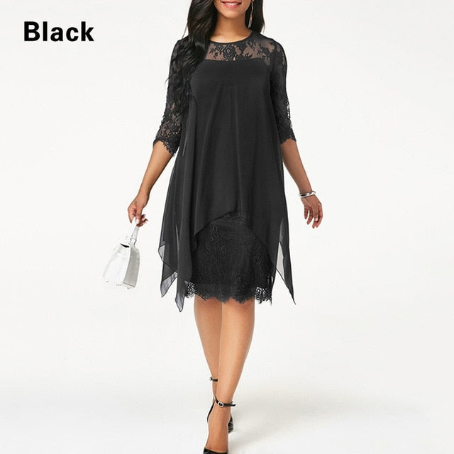 Plus Size Chiffon Dresses Women New Fashion Chiffon Overlay Three Quarter Sleeve Stitching Irregular Hem Lace Dress-hipnfly-Black-XXL-hipnfly