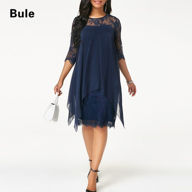 Plus Size Chiffon Dresses Women New Fashion Chiffon Overlay Three Quarter Sleeve Stitching Irregular Hem Lace Dress-hipnfly-Blue-XXL-hipnfly