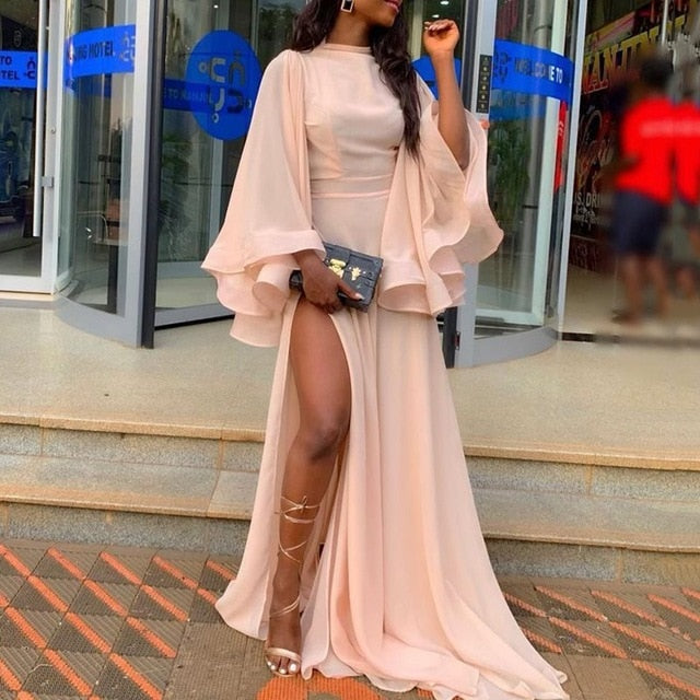 Summer Sexy Club Elegant Party Women Long Dress Pink Mesh Split Plus Size Draped 2019 African Female Evening Wedding Maxi Dress-hipnfly-Pink-M-hipnfly