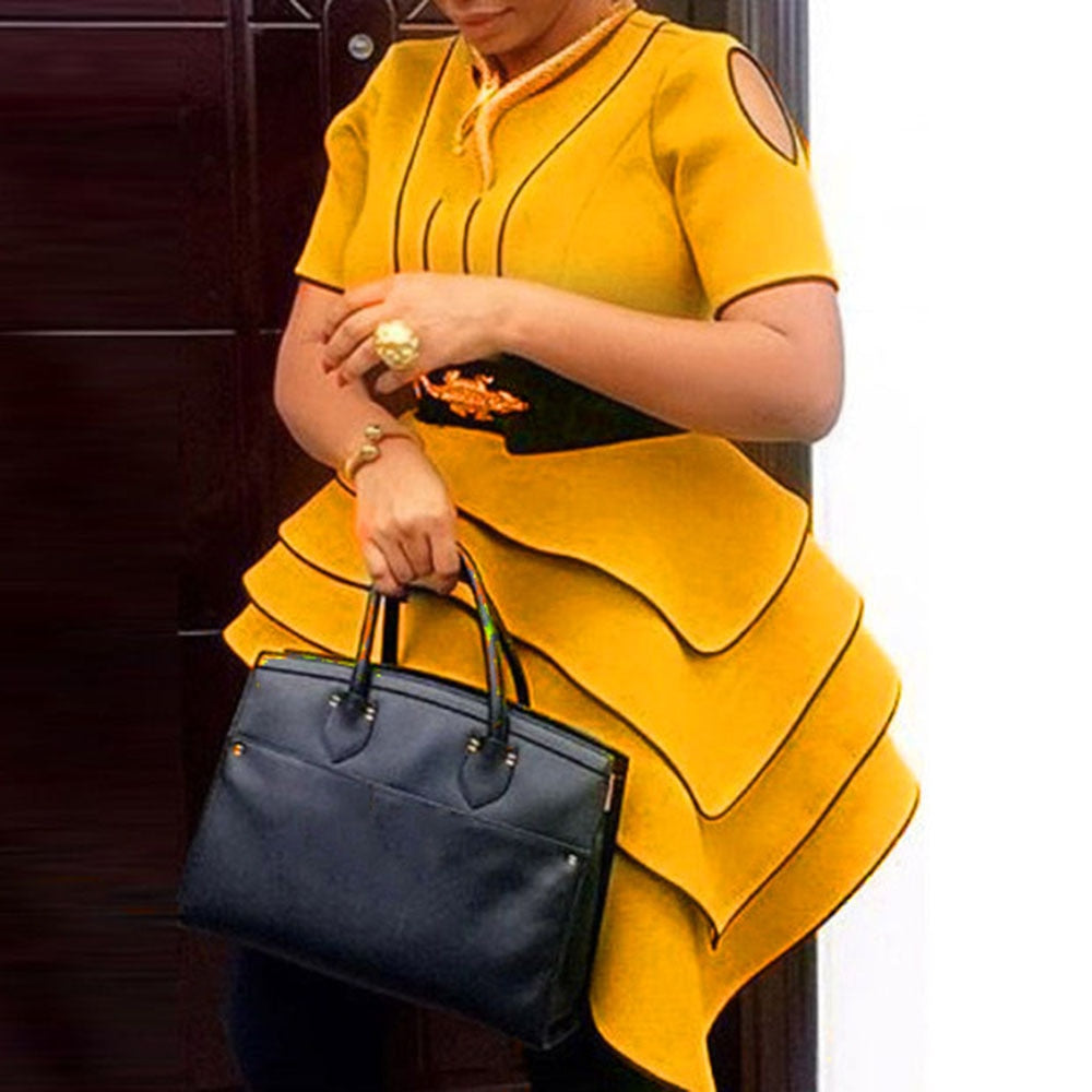 African Women Yellow Blouses Party Summer Short Sleeve Tops Elegant Plus Size Vintage Stripe Office Ladies Retro Ruffles Shirts-hipnfly-hipnfly