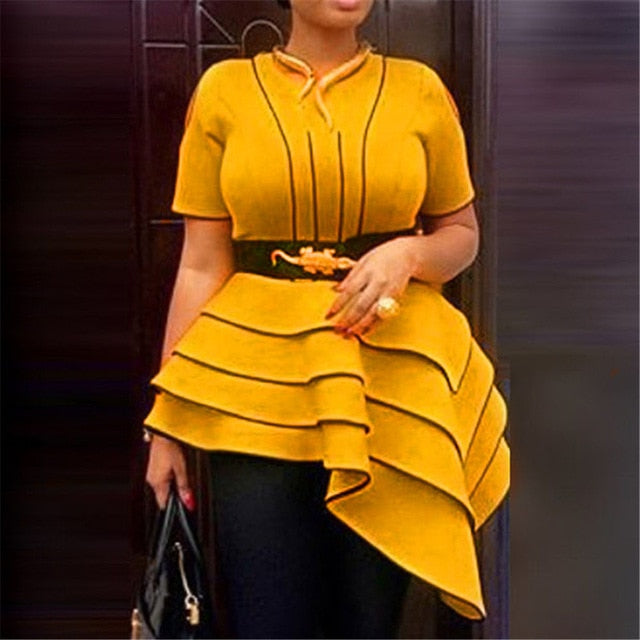 African Women Yellow Blouses Party Summer Short Sleeve Tops Elegant Plus Size Vintage Stripe Office Ladies Retro Ruffles Shirts-hipnfly-Deep Yellow-M-hipnfly