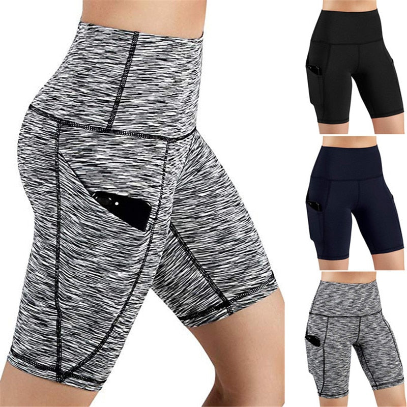 Summer Sport Short Women High Waist Out Pocket Short Running Athletic Shorts Lady Solid Pencil England Style-hipnfly-hipnfly