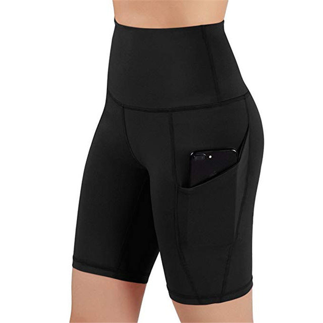 Summer Sport Short Women High Waist Out Pocket Short Running Athletic Shorts Lady Solid Pencil England Style-hipnfly-Black-L-hipnfly