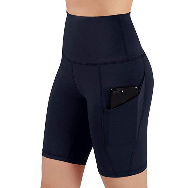 Summer Sport Short Women High Waist Out Pocket Short Running Athletic Shorts Lady Solid Pencil England Style-hipnfly-Navy-L-hipnfly