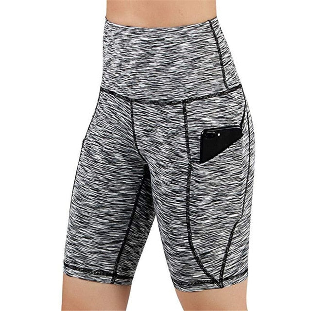 Summer Sport Short Women High Waist Out Pocket Short Running Athletic Shorts Lady Solid Pencil England Style-hipnfly-Gray-L-hipnfly