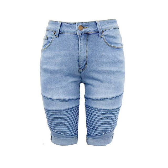 Mid Rise Elastic Denim Shorts Women Zip Skinny Denim Knee Length Curvy Stretch Shorts Jeans Skirt Shorts Pantalones 40APR15
