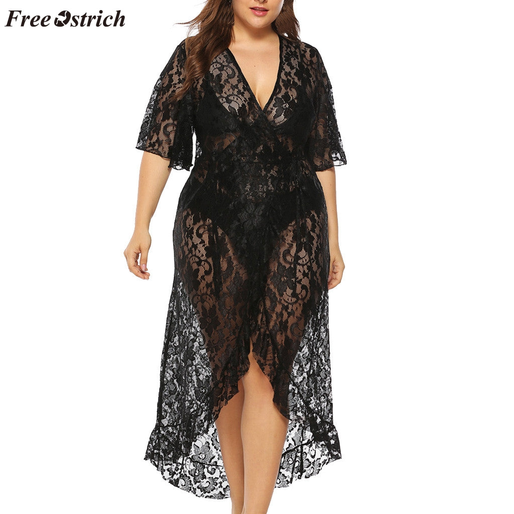 FREE OSTRICH Women's solid color stitching lace short-sleeved dress natural waist line casual large size lace beach blouse dress