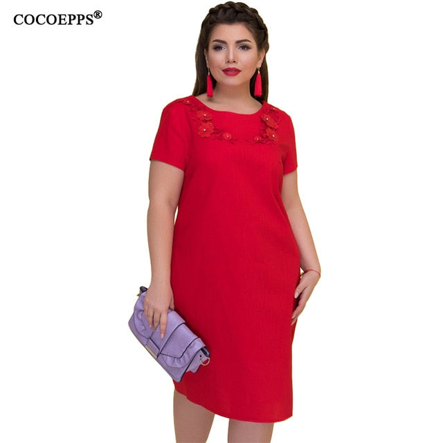 COCOEPPS Summer Women Dress 6XL Large Size vestidos Dress Office Lady Elegant Plus Big Size Female Clothes Bodycon Casual Dress-hipnfly-ZBD1262-hong-XXL-China-hipnfly