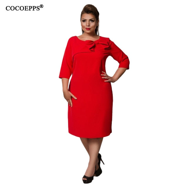 COCOEPPS Summer Women Dress 6XL Large Size vestidos Dress Office Lady Elegant Plus Big Size Female Clothes Bodycon Casual Dress-hipnfly-red-XXL-China-hipnfly