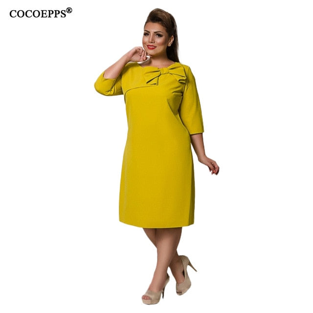 COCOEPPS Summer Women Dress 6XL Large Size vestidos Dress Office Lady Elegant Plus Big Size Female Clothes Bodycon Casual Dress-hipnfly-yellow-XXL-China-hipnfly