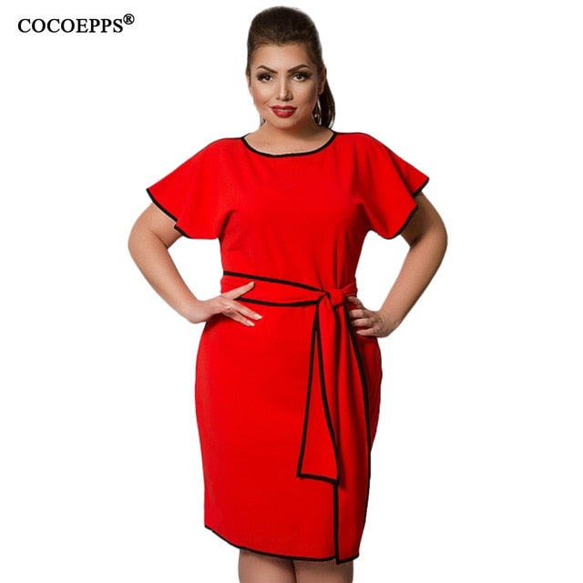 COCOEPPS Summer Women Dress 6XL Large Size vestidos Dress Office Lady Elegant Plus Big Size Female Clothes Bodycon Casual Dress-hipnfly-ZBD0045-hong-XXL-China-hipnfly