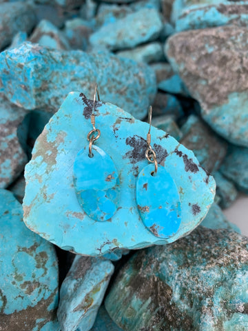 Kingman Turquoise Blue Oval Slab earrings