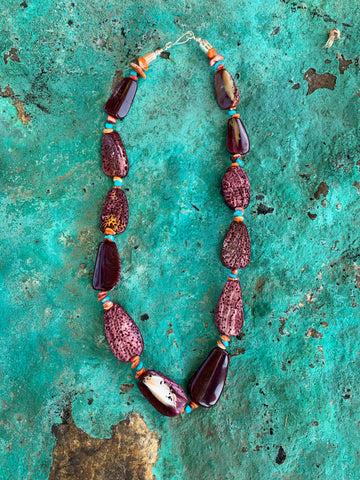 Purple Spiny Shell & Turquoise necklace