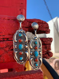 Coral & Kingman Turquoise Concho earrings